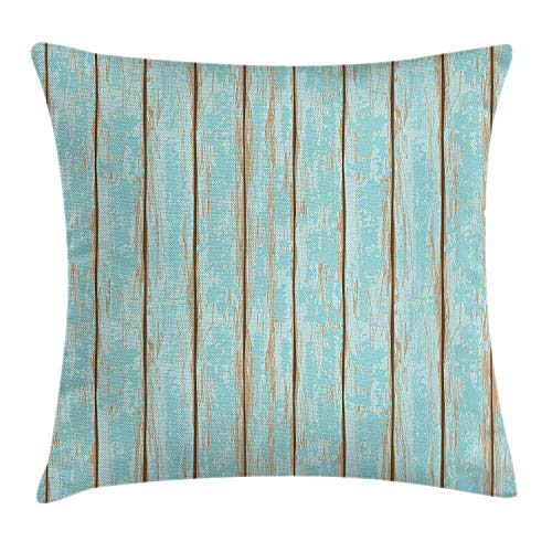 Black Weathered Cottage Pub - JOOCAR Wood Print Old Fashioned Weathered Rustic Planks Summer Cottage Beach Coastal Theme Pale Blue Tan Linen Indoor Decor Throw Pillow Cover/Case with Zipper Soft Cushion (Two Sides)