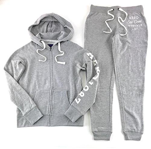 Aeropostale Women's Hoodie and Sweat Pants Set Light Gray - Aero Chart Size