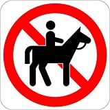 No Horses Recreation Parks Forestry Camping LABEL DECAL STICKER 12 in x 12 in