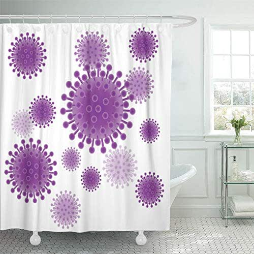 Emvency Shower Curtain Influenza Lilac Virus Cells on White Cancer Shower Curtains Sets with Hooks 72 x 78 Inches Waterproof Polyester Fabric