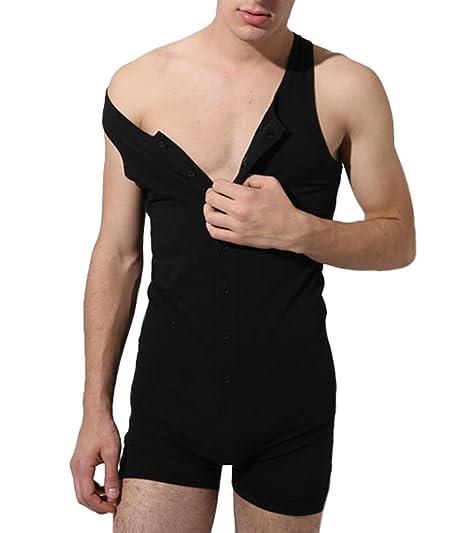 62148afd5854 XARAZA Men s Short Sleeve Leisure Cotton Stripes Jumpsuits Overalls Short  Pants (US L+ Tag