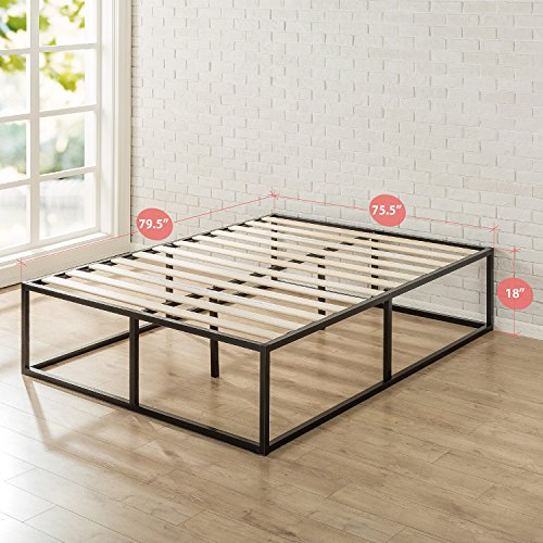 Zinus 18 Inch Platforma Bed Frame, Mattress Foundation, Boxspring Optional, Wood slat support, King