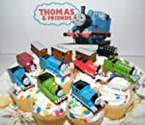 Thomas the Tank Engine Deluxe Set of 12 Cake Toppers Cupcake Toppers Party Decorations with Thomas, Percy, Harold the Helicopter, Passanger Cars, Bus and More!