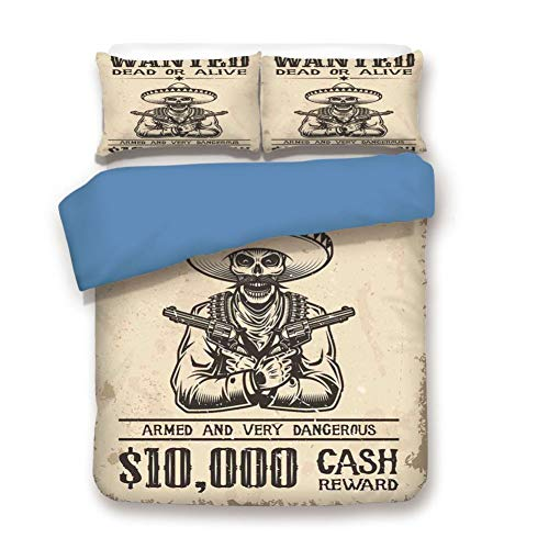 - Duvet Cover Set Full Size, Decorative 3 Piece Bedding Set with 2 Pillow Shams,Dead Skull with Cowboy Hat and Pistols in Retro Vintage Texas Art Print