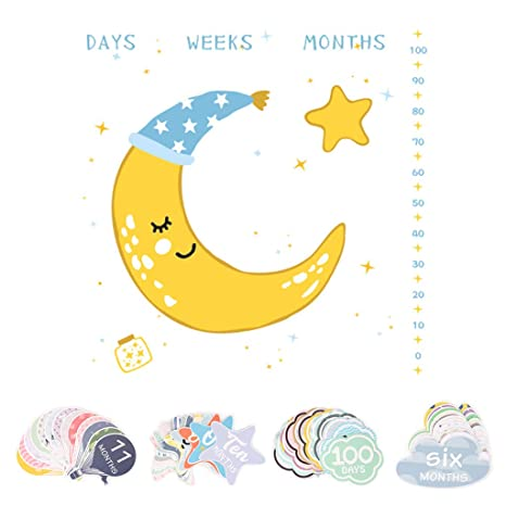 Hasiky - Tarjeta de felicitación mensual para bebé con ...