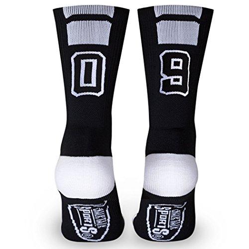 Custom Team Number Crew Socks | Athletic Socks by ChalkTalkSPORTS | Black | 09