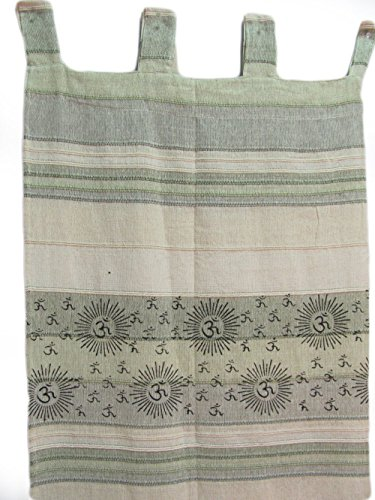 Indian Home Decor Bohemian Om Namah Shivay Sanskrit Cotton Ivory-Green Tab Top (Tab Top Tapestry)