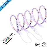LED Strip Lights for TV Backlight,RGB 13.09Ft Bias Lighting with Remote for 55 to 75 Inches Flat HDTV and USB Powered Light Strip-Color Changing & Dimmable 4 pack
