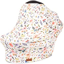 5-in-1 Car Seat Canopy & Nursing Cover by Matimati, Stretchy & Ultra Soft Breastfeeding, Carseat & Stroller, Shopping Cart Covers, Perfect Gift for Mom (Floral)