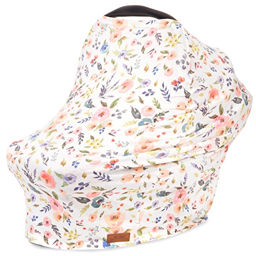 (5-in-1 Car Seat Canopy & Nursing Cover by Matimati, Stretchy & Ultra Soft Breastfeeding, Carseat & Stroller, Shopping Cart Covers, Perfect Gift for Mom (Floral))