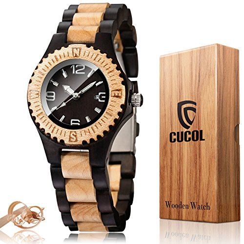 CUCOL Women's Black White Sandal Wood Watch Analog Quartz Lightweight Date Display Handmade Wristwatch with Gift Box by CUCOL