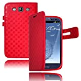 Bastex Leather Wallet For Samsung Galaxy S3 SIII I9300 - Red Flip Case