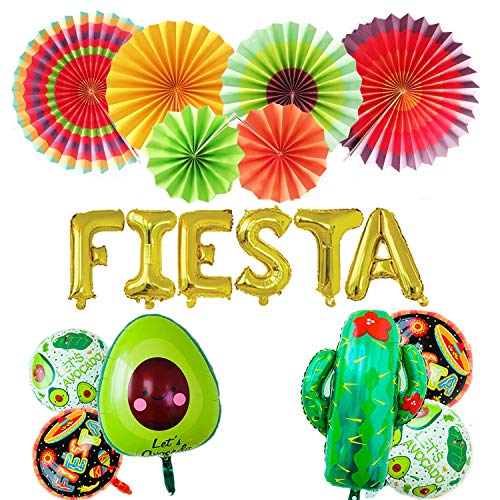 """FIESTA Party Foil Balloons, 24"""" Large Cactus Balloon And 5 party theme round balloons,6 Colorful Paper Fans- Mexican Party Supplies Decorations(Set of 18)"""