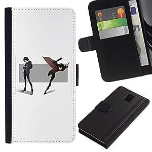ZCell / Samsung Galaxy Note 3 III / Cartoon Comic Scene Hero Mask Cape Flying / Caso Shell Armor Funda Case Cover Wallet / Cartoon Comic Escena H