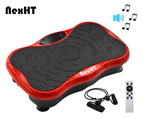 NexHT Mini Fitness Vibration Platform Whole Body Shape Exercise Machine Built-in USB Speaker(89012A), Fit Vibration Plate Massage Workout Trainer Two Bands &Remote,Max User Weight 330lbs.Red Review