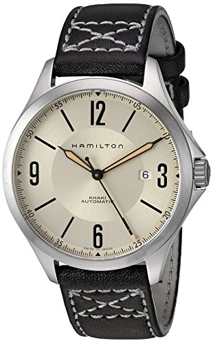 Hamilton Men's Automatic Khaki Aviation Ivory Dial Leather Strap Watch
