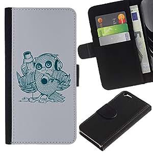 Paccase / Billetera de Cuero Caso del tirón Titular de la tarjeta Carcasa Funda para - Abstract Bird - Apple Iphone 6 4.7
