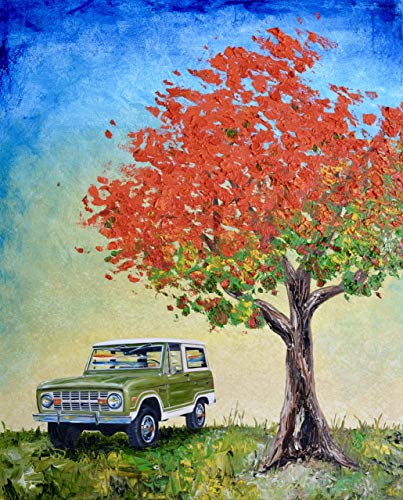 1974 Green Ford Bronco, artist signed print,11