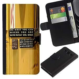 """SAMSUNG Galaxy S3 III / i9300 / i747 , la tarjeta de Crédito Slots PU Funda de cuero Monedero caso cubierta de piel ("""" Yellow Abstract Message Wood Grain"""")"""