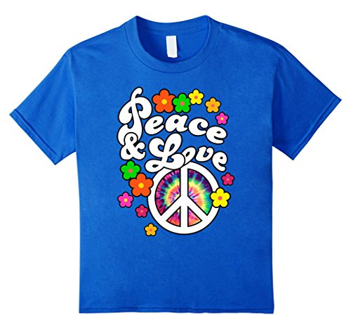 Kids Peace and Love TShirt with Tie Dye Peace Sign 8 Royal Blue Kids Peace Sign