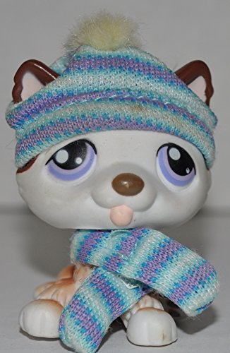 Husky #427 (Sitting: White, Brown Accents) - Littlest Pet Shop (Retired) Collector Toy - LPS Collectible Replacement Figure - Loose (OOP Out of Package & Print)