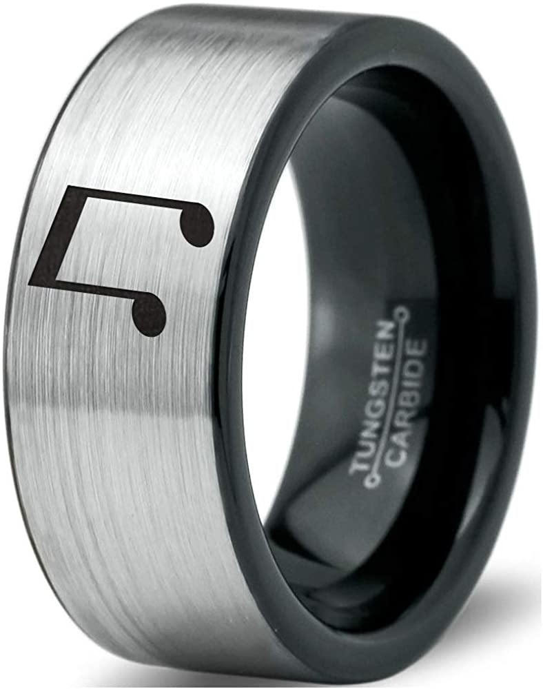 Beam Note Music Ring - Tungsten Band 8mm - Men - Women - 18k Rose Gold Step Bevel Edge - Yellow - Grey - Blue - Black - Brushed - Polished - Wedding - Gift Dome Flat
