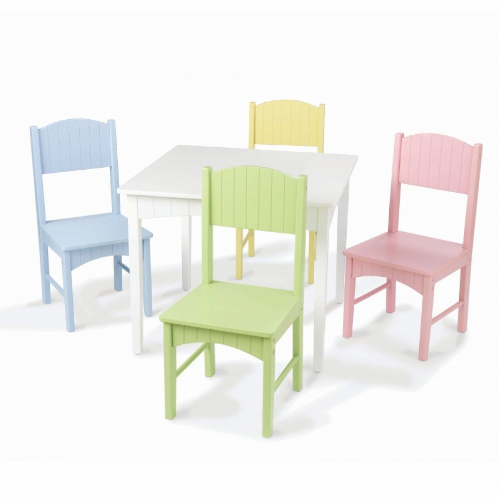 KidKraft Nantucket Table & 4 Pastel Chairs – MDF & Rubber wood