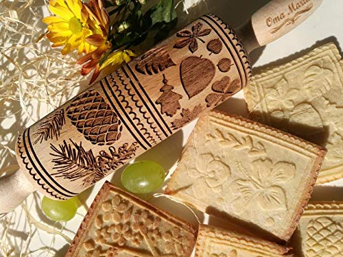 Wooden embossed rolling pin, textured rolling pins for cookies with Springerle pattern, Cookie baking mold by OmaMarta, Small size (12 Molds Springerle Christmas Days)