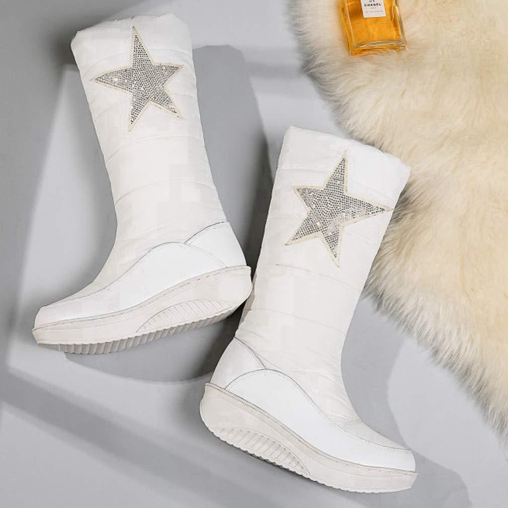 JOYBI Womens Winter Mid Calf Snow Boots Waterproof Outdoor Slip on Warm Fur Lined Riding Boots