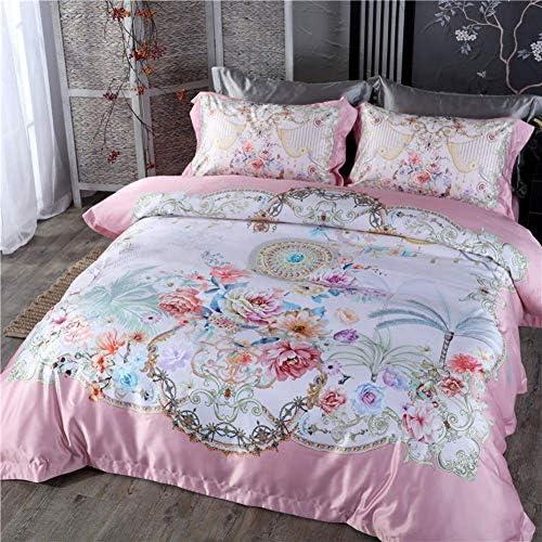 4ピース3Dデジタル印刷シルク快適な寝具セット布団カバーベッドリネンベッドシート枕カバー(ピンク、クイーン4ピース)