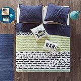 Urban Habitat Kids Finn Full/Queen Bedding Sets Boys Quilt Set - Green, Navy , Shark Stripe – 5 Piece Kids Quilt For Boys – 100% Cotton Quilt Sets Coverlet