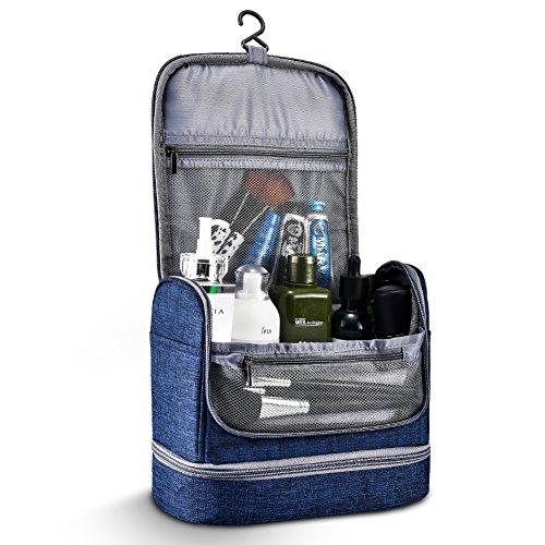 Toiletry Bag Hanging Travel Toiletry Organizer Kit with Hook and Handle Waterproof Cosmetic Bag Dop Kit for Men or Women (Navy Blue) by NICEPACK (Image #1)