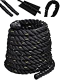 Comie Poly Dacron 30ft/40ft/50ft Length Battle Rope Exercise Workout Strength Training Undulation
