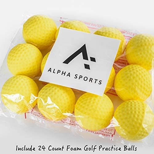 Alpha-Sports Foam Golf Pracitce Balls – 12 24 Per Pack Restricted Flight Soft for Indoor or Outdoor Training Choose Between Yellow or White Colored