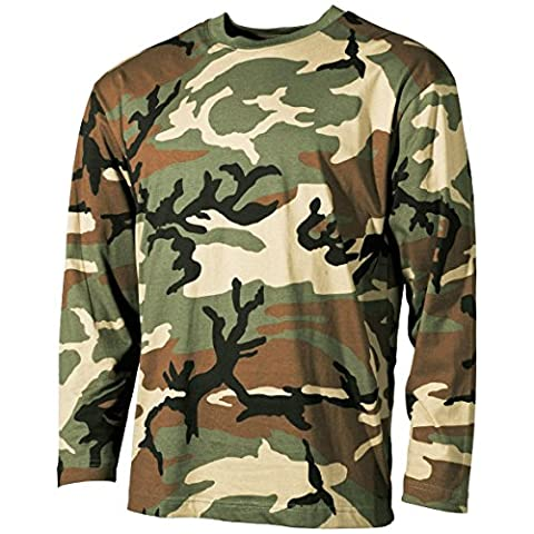 MFH Long Sleeved T-shirt Woodland size XXL - Woodland Camouflage Tee T-shirt Top