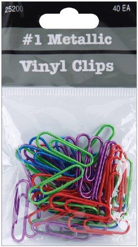 Metallic Vinyl Paper Clip (Baumgartens Vinyl Paper Clips, 1.125-Inch, Metallic,)