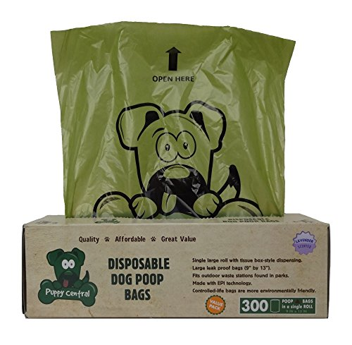 300 Lavender Scented Puppy Central Dog Waste Bags for Pantries, Environmentally Friendly, Large Leak-Proof Bags in Tissue-Box Dispensing Style Box, Single Roll. Style Dog Box