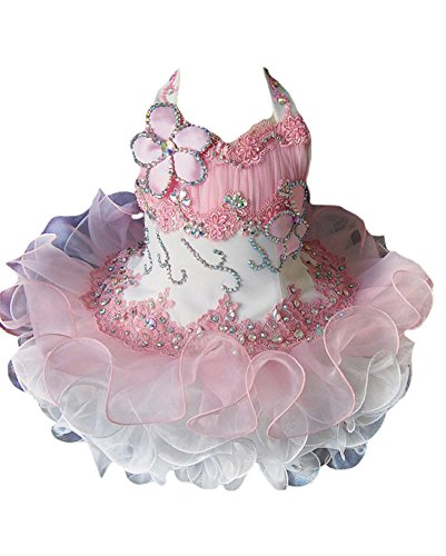 Junguan Toddler Girls Pageant Party Cupcake Dress Baby Short Gowns 6M -