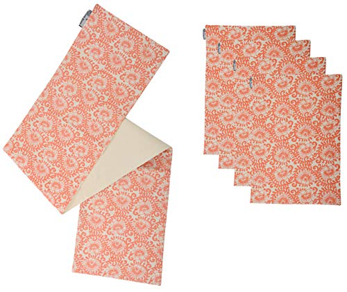 ACCENTHOME Natual Cotton Linen Slub Coral Theme Printed Placemat 4 pcs - 13x18 inch & Runner 1 pc - 13x72 inch for Daily use add Accent to Your Dinning Table in Coral Color ()