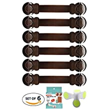 Baby Proof Child and Baby Safety Lock for Toddler Child Proofing Cabinet Cupboard Baby Gate Drawer Toilet Fridge and More 6-Pack Baby Proof Child Security Lock Strap and Latches (Brown)