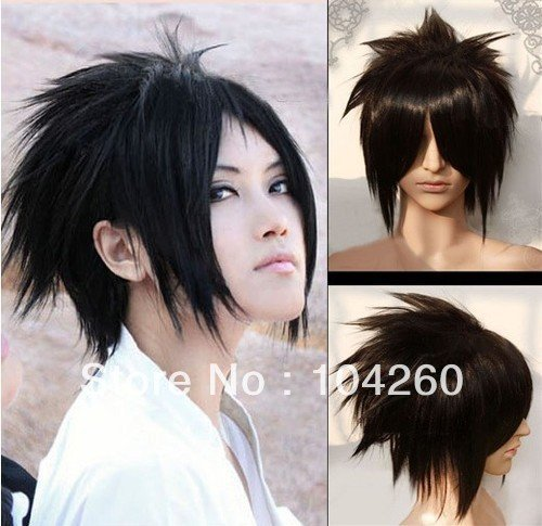 Smile Short black Naruto Uchiha Sasuke straight Unisex co...