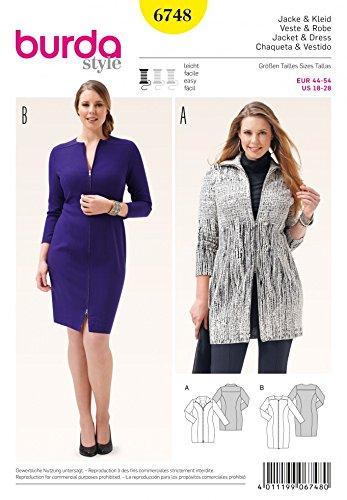 Burda Ladies Plus Size Easy Sewing Pattern 6748 Zip Up Dress & Jacket