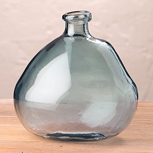 Smoky Blue Askew Recycled Glass Balloon Vase, 9'' by Vivaterra