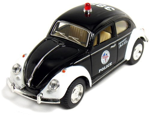 5 Classic Volkswage 1967 Beetle Police car 1:32 Scale (Black/White) by Kinsmart