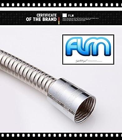 FLM LYRG0115 Flexible Douche Relexaflex 2 m en Acier Inoxydable de Remplacement de Tuyau de Douche Anti-Torsion et Anti-Pliure,Chrom/é