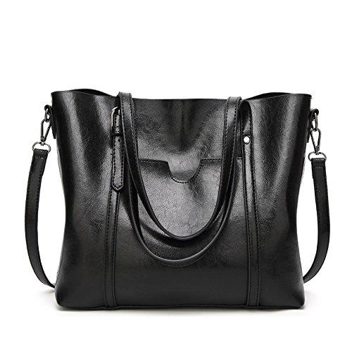 Imentha Women Top Handle Satchel Handbags Shoulder Bag Top Purse Messenger Tote Bag (black) (Handle Leather Satchel Bag)