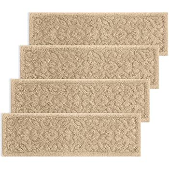 Set Of 4 New Basket Weave Washable Indoor Stair Tread Rugs