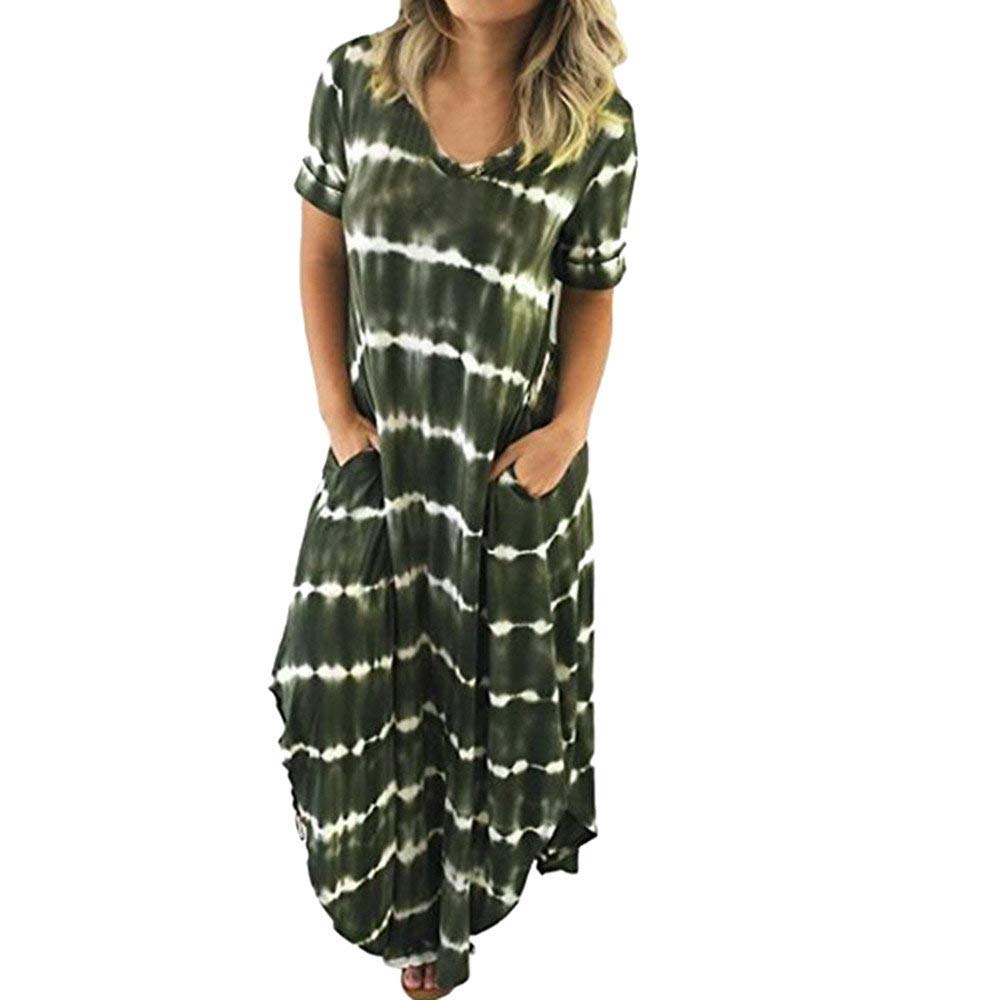 Dressin Elegant Women's Casual Striped Short Sleeved Pocket Split Irregular Hem Long Beach Dress Army Green