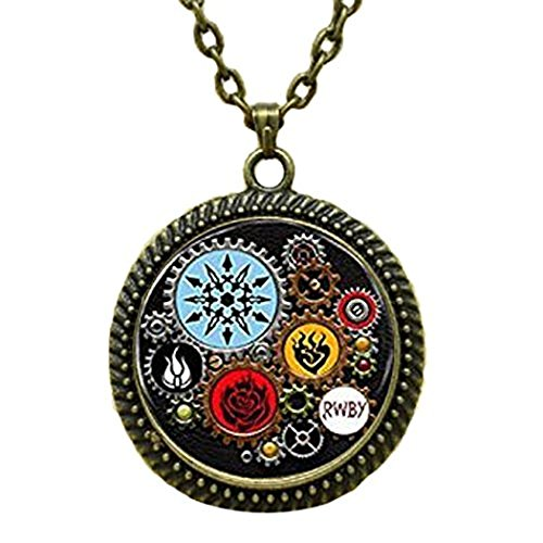 Litter Star Fashion Glass Dome Art Neckalce Rwby Or Jnpr Inspired Steampunk Pendant Necklace Glass Cabochon Necklace Birthday Anniversary Valentine'S Day Christmas'S Day Graduation Gift For Men For - Inspired Steampunk Fashion