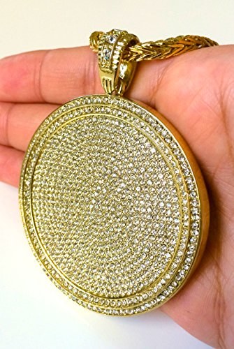Bitter Sweet Store Mens Iced Out Hip Hop Gold Round Cz